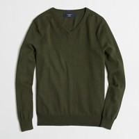 Slim cotton-cashmere V-neck sweater