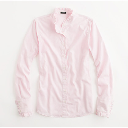 Factory ruffle-trim button-down shirt