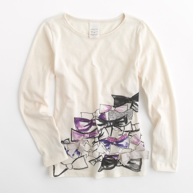 Factory girls' long-sleeve bow cluster keepsake tee