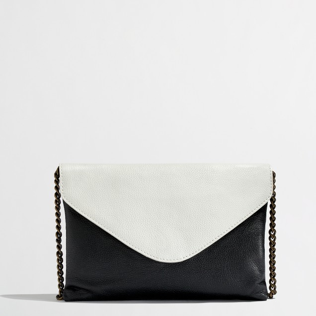 Factory envelope clutch in colorblock