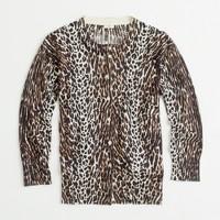 Factory classic crewneck cardigan in leopard