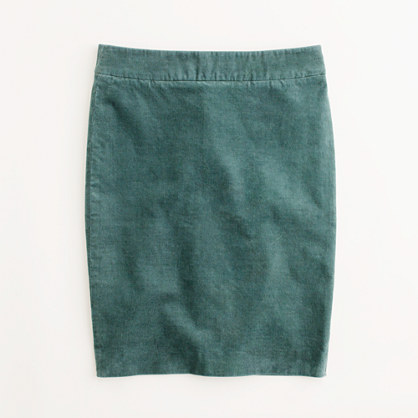 Factory pencil skirt in corduroy