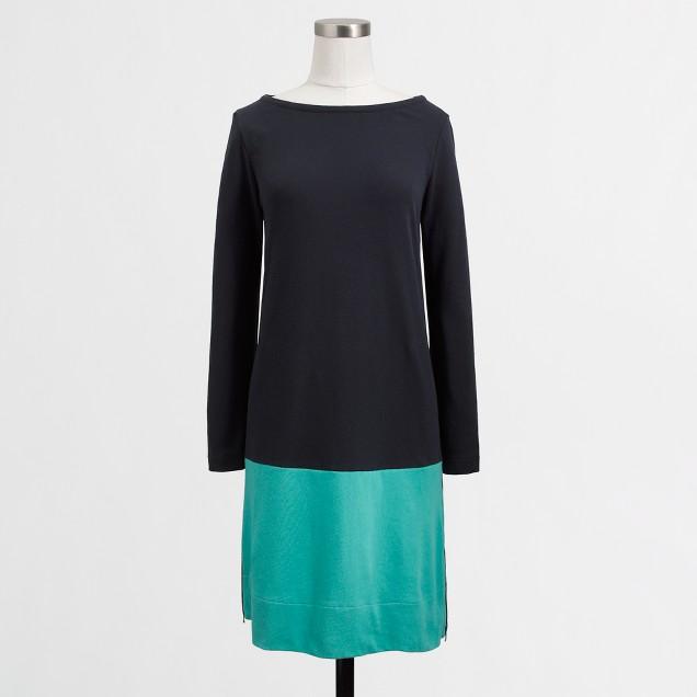 Factory cotton colorblock dress