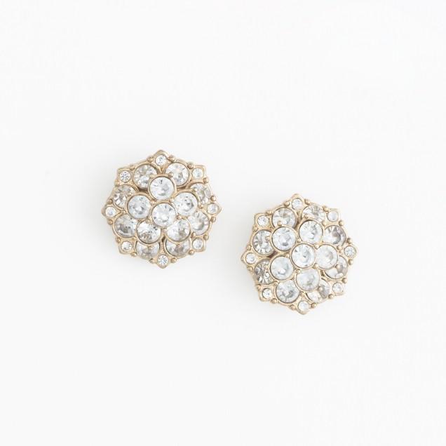 Factory crystal blossom stud earrings