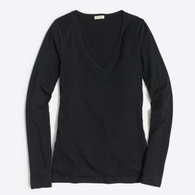 Tissue long-sleeve V-neck T-shirt factorywomen knits & t-shirts c