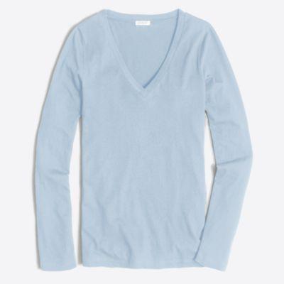 Tissue long-sleeve V-neck T-shirt factorywomen online exclusives c