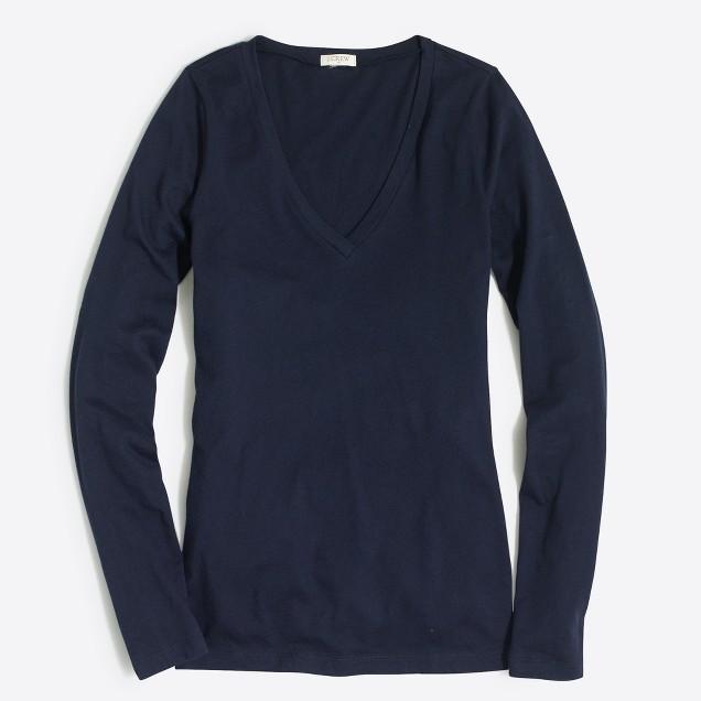 Tissue long-sleeve V-neck T-shirt