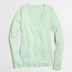 Factory tissue long-sleeve V-neck T-shirt