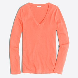 Tissue long-sleeve V-neck T-shirt
