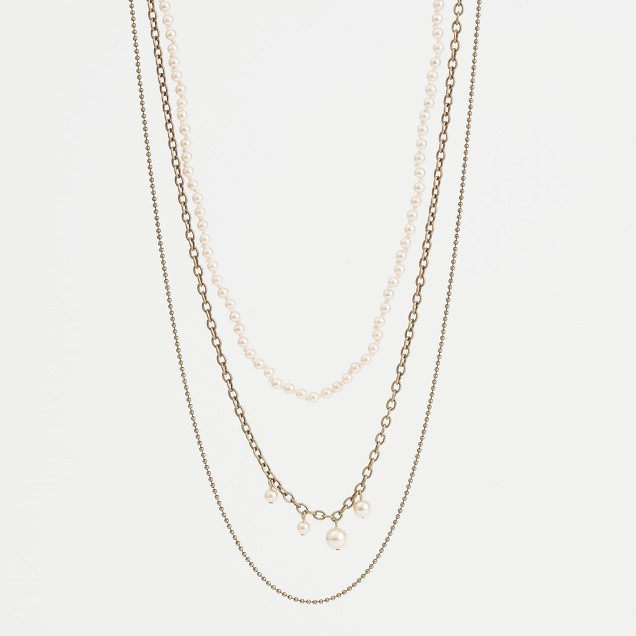 Factory layered chain and pearl necklace