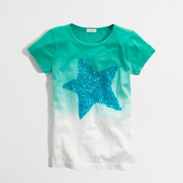 Factory girls' dip-dye sequin star keepsake tee