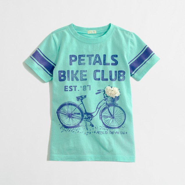 Factory girls' flower bike keepsake tee