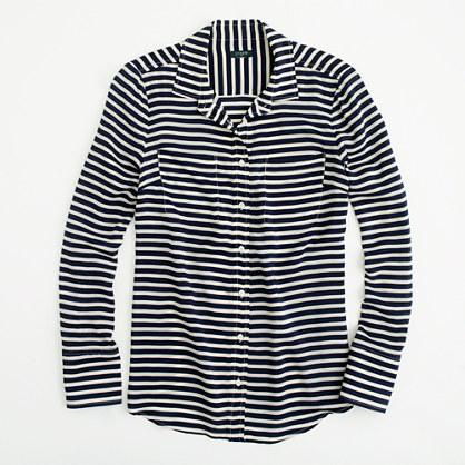 Factory stripe silk double-pocket blouse