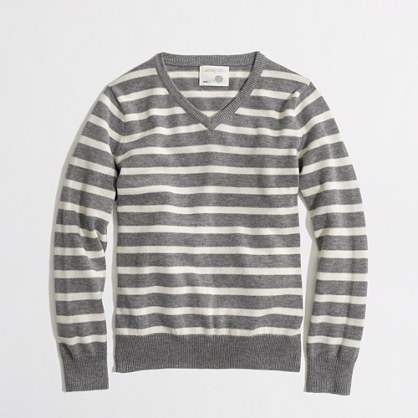 Factory boys' stripe classic V-neck sweater