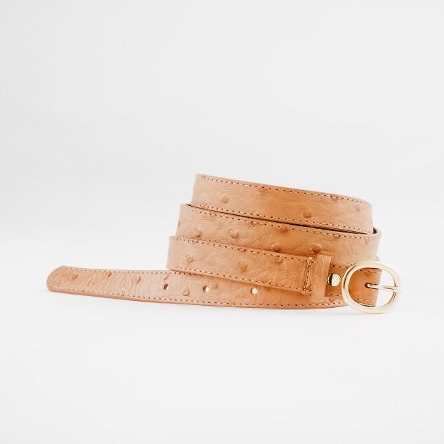 Factory skinny embossed ostrich belt