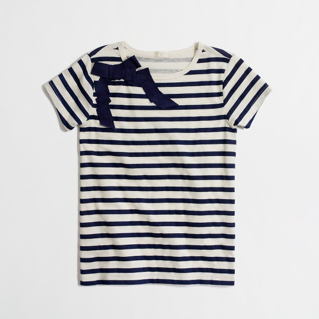 Factory girls' ribbon bow stripe tee