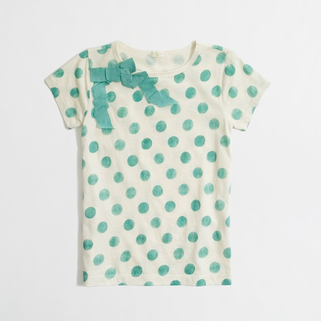 Factory girls' ribbon bow polka-dot tee