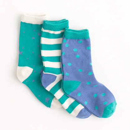 Factory girls' patterned socks three-pack