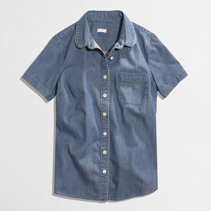 Factory short-sleeve chambray shirt