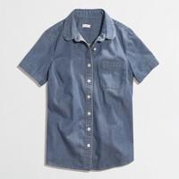Factory short-sleeve chambray shirt