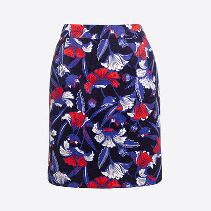 Printed basketweave mini skirt