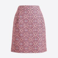 Printed basketweave mini skirt