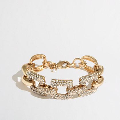 Factory gold and crystal square-link bracelet