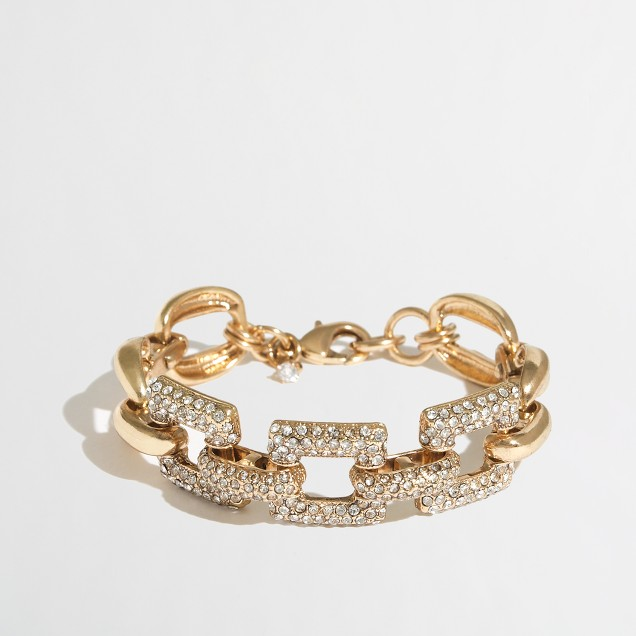 Factory gold and crystal square-link bracelet