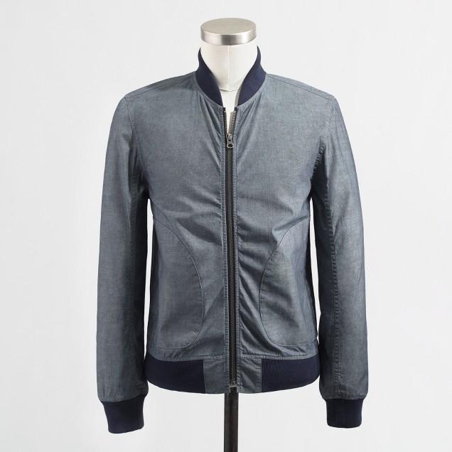 Factory chambray bomber jacket