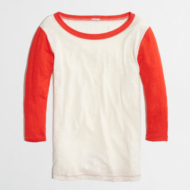 Factory colorblock linen baseball tee