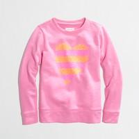 Factory girls' sequin-stripe heart sweatshirt
