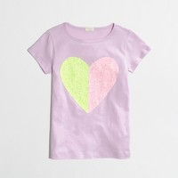 Factory girls' two-tone sequin heart keepsake tee