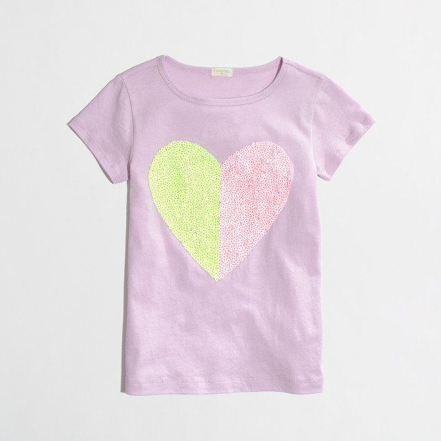 Factory girls' two-tone sequin heart keepsake tee