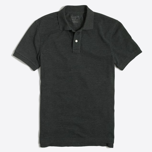 J.Crew Factory Mens Slim Heathered Pique Polo Shirt (Washed Black)