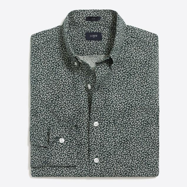 Slim printed washed shirt
