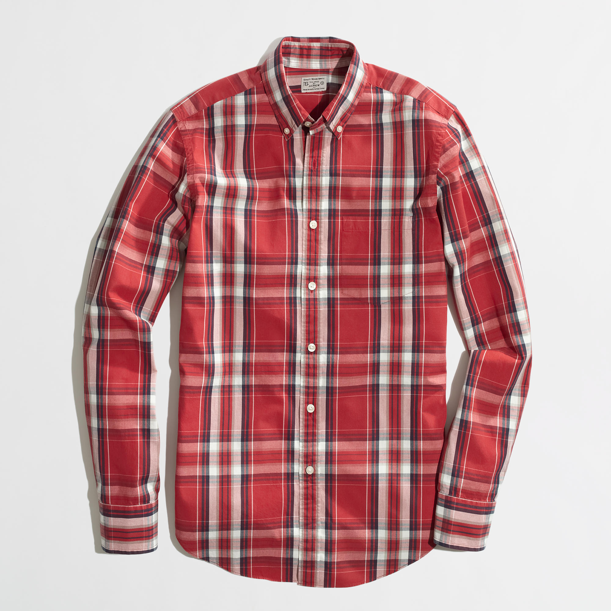 Factory washed shirt in red and white plaid factory for Red and white plaid shirt mens