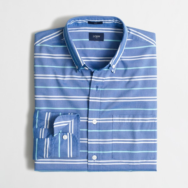 Slim washed shirt in horizontal stripe