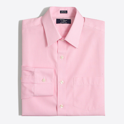 Wrinkle free voyager dress shirt in double check slim Best wrinkle free dress shirts