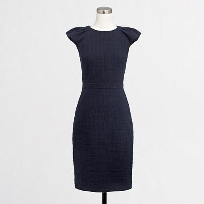 Factory cap-sleeve pocket shift dress in tonal tweed