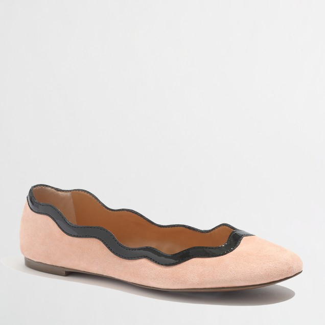 Factory suede scalloped ballet flats