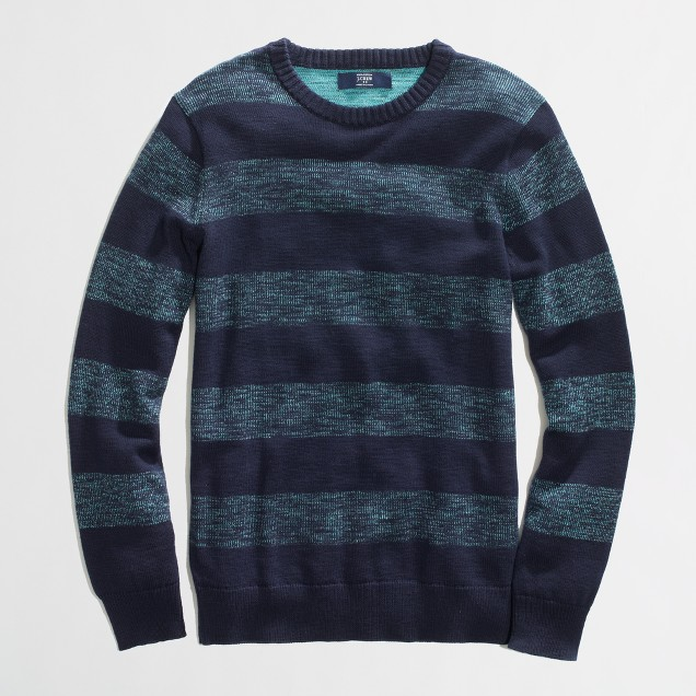 Factory plaited-stripe crewneck sweater