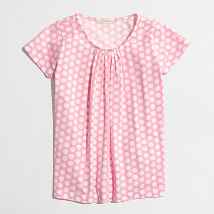 Factory girls' pleated tee in polka dot