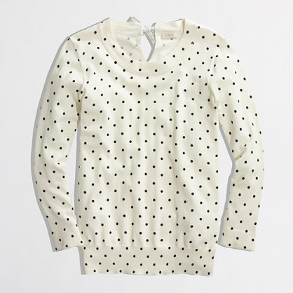 Factory keyhole sweater in dot