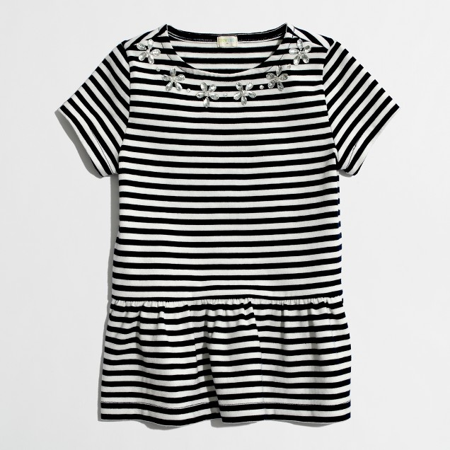 Factory girls' stripe peplum necklace tee