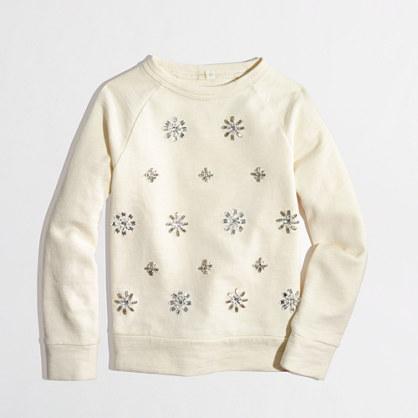 Factory girls' jeweled sweatshirt