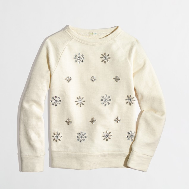 Factory girls' jeweled sweatshirt