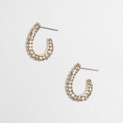 Factory small crystal hoop earrings