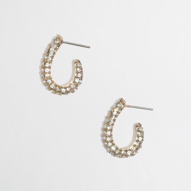 Factory small crystal hoop earrings