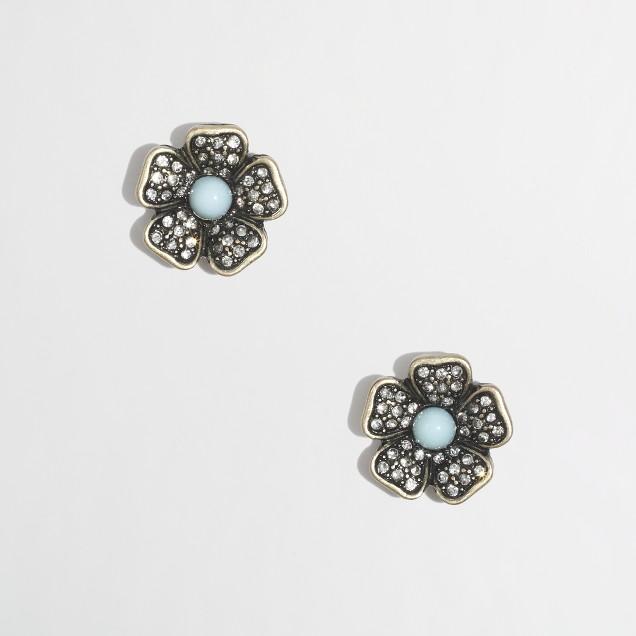 Factory crystal petal stud earrings