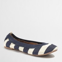 Factory girls' stripe grosgrain flats
